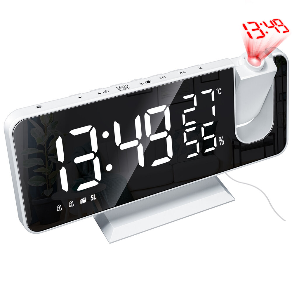 LED Mirror Alarm Clock Big Screen Temperature and Humidity Electronic Clock Display Rechargeable Bedside Radio Projection