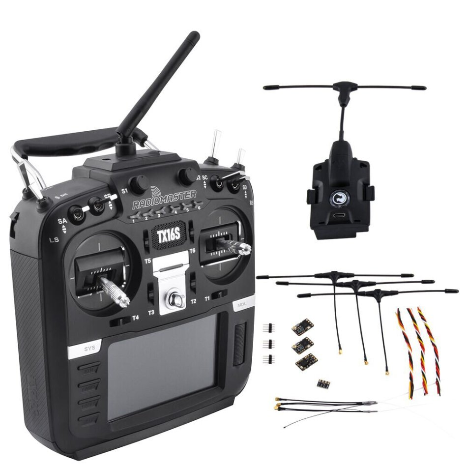 RadioMaster TX16S Hall Sensor Gimbals Multi-protocol RF System OpenTX Transmitter with TBS Crossfire Micro TX V2 Module and Receiver Combo Set