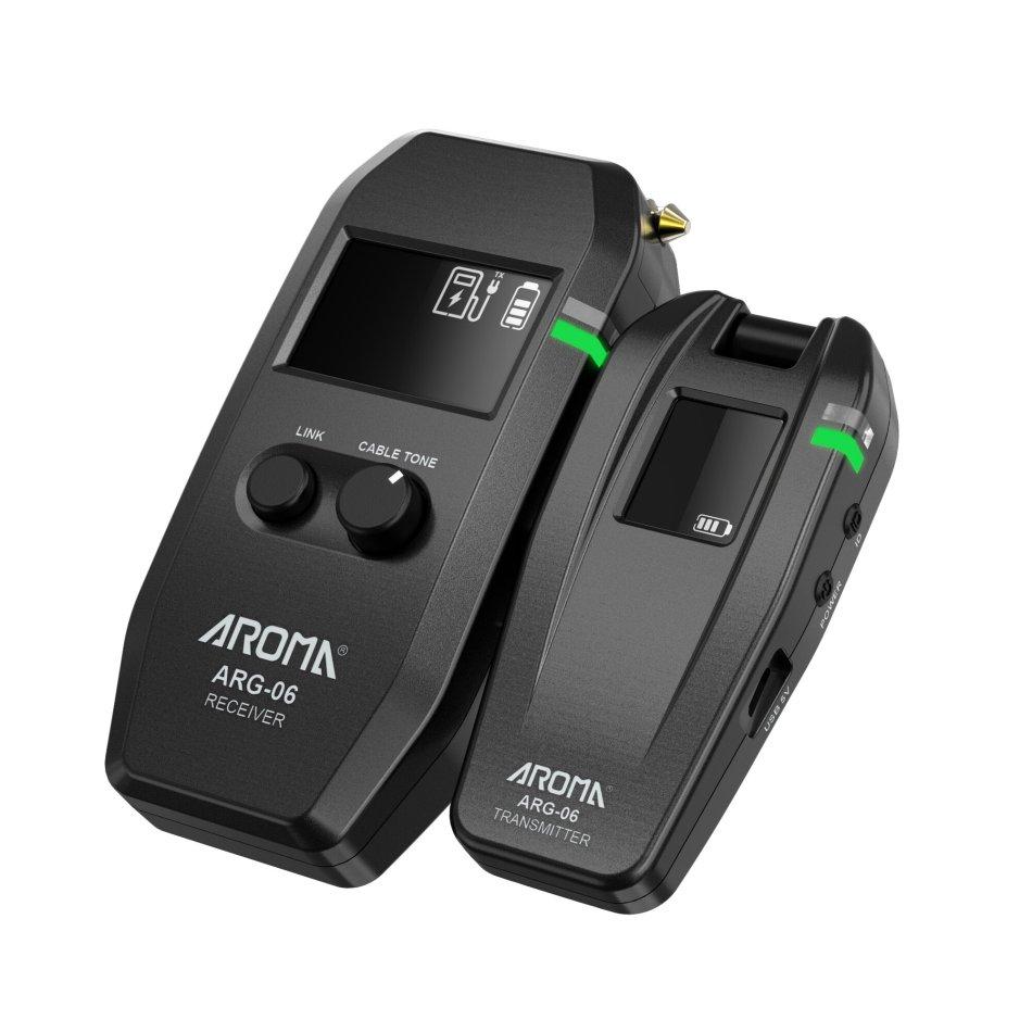 AROMA ARG-06 Guitar Wireless Transmission System(Transmisster & Receiver) 6.35mm Plug 4 Channels Max. 35m Effective Range
