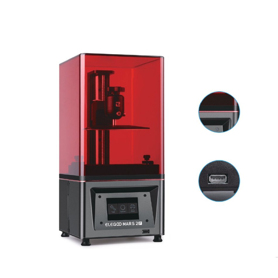 ELEGOO® Mars Pro UV Photocuring LCD 3D Printer 4.53in(L) x 2.56in(W) x 5.9in(H) Printing Size with Matrix UV LED Light Source/Built-in Activated Carbon/Off-Line Print COD