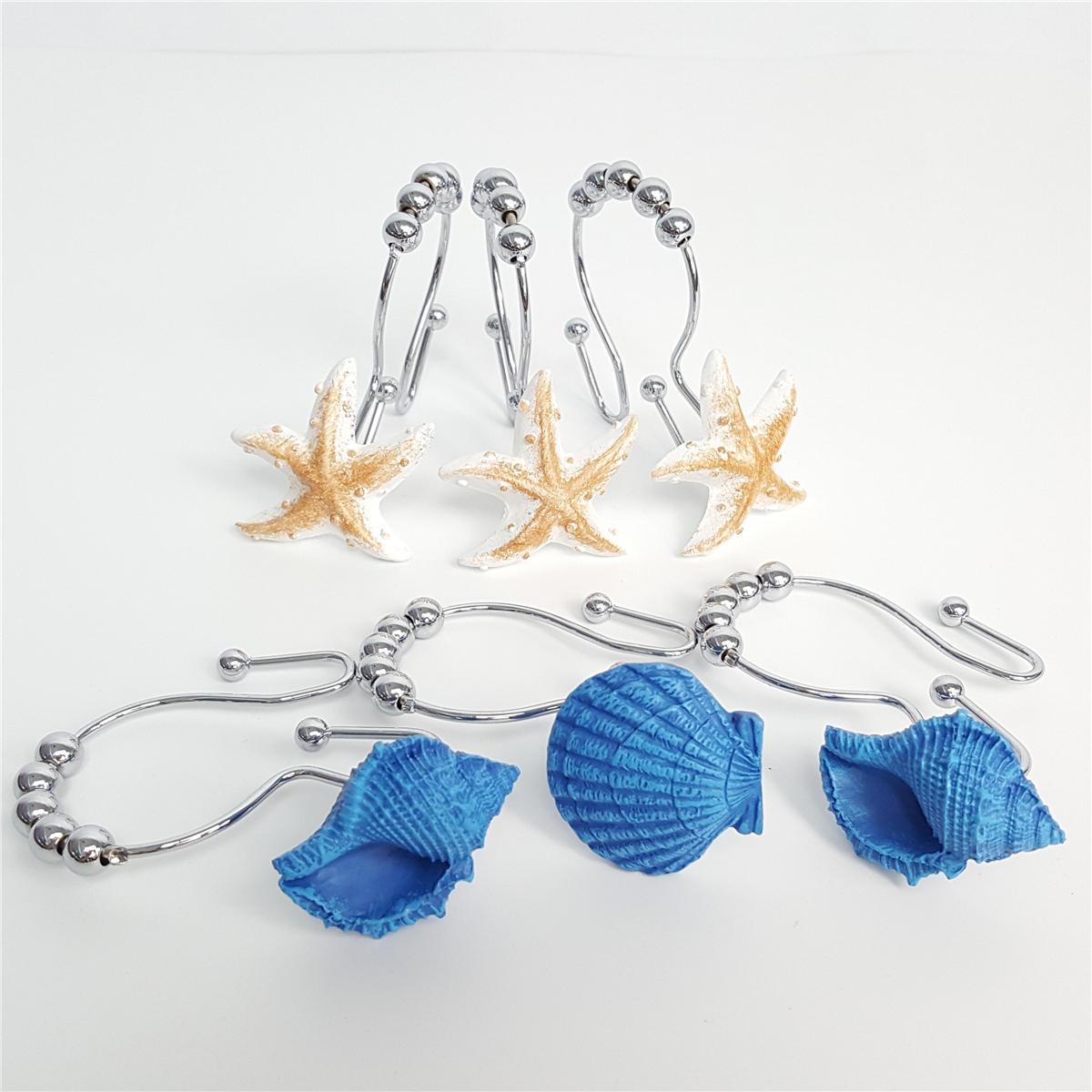 12pcs Resin Decorative Seashell Home Shower Curtain Hooks Bathroom Beach Shell Decor
