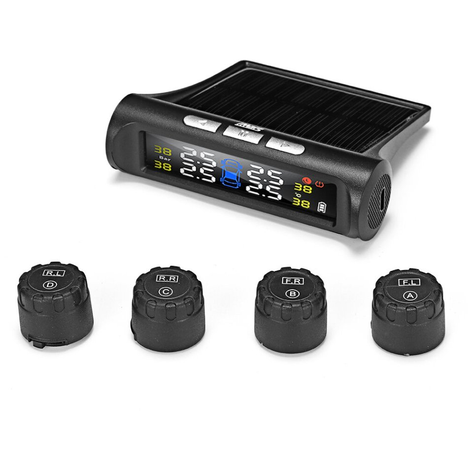 iMars T240 TPMS Solar Power Tire Pressure Monitor System Universal Tester Wireless LCD Display with 4 External Sensors