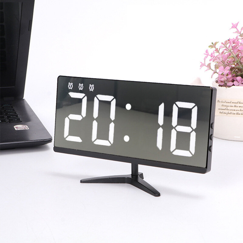 Ευρωπαϊκή αποθήκη | 6615 Framless Mirror Clock Touch Control Digital Alarm Clock LED Table Clock Electronic Time Date Temperature Display Office Home Decorations