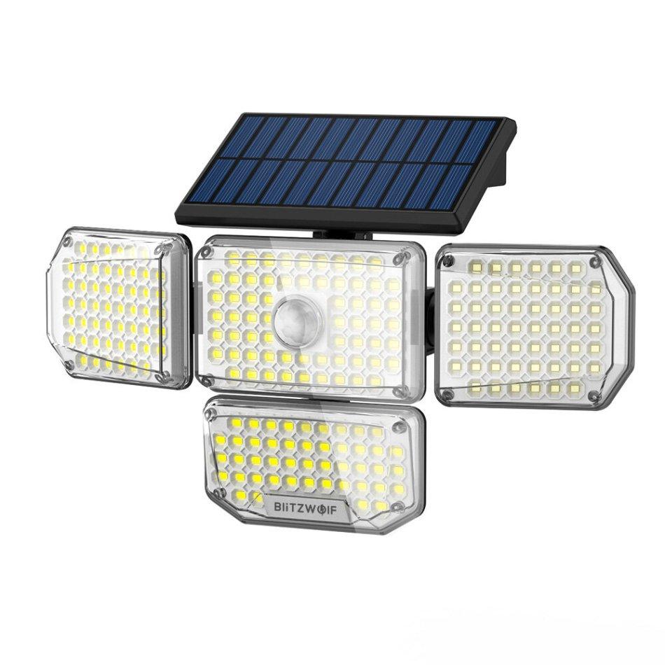 BlitzWolf® BW-OLT6 4 Heads Solar Sensor Wall Light with 4-Side Light Output, Rotatable 4 Heads, Sensitive PIR Sensor, 3 Working Modes and IP65 Waterproof
