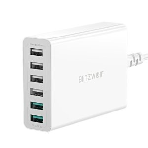 [Non Greek] Στα 14€ από αποθήκη Τσεχίας | BlitzWolf® BW-S15 60W 6-Port USB Charger Dual QC3.0 Desktop Charging Station Smart Charger EU AU US Plug Adapter for iPhone 12 12 Mini 12 Pro Max SE 2020 for Samsung Galaxy S20 Huawei For iPad Pro 2020 For Nintendo Switch
