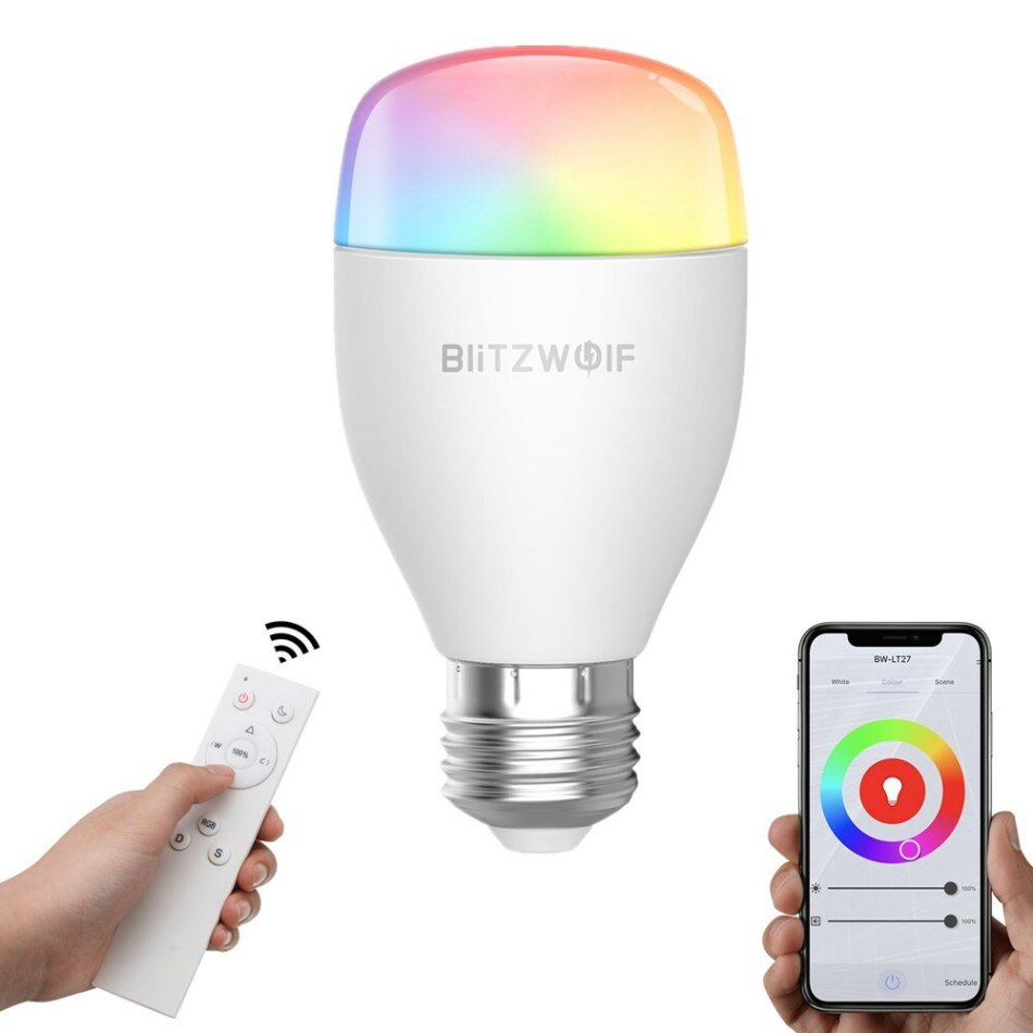 BlitzWolf® BW-LT27 AC100-240V RGBWW+CW 9W E27 APP Smart LED Bulb Work With Alexa Google Assistant + IR Remote Control