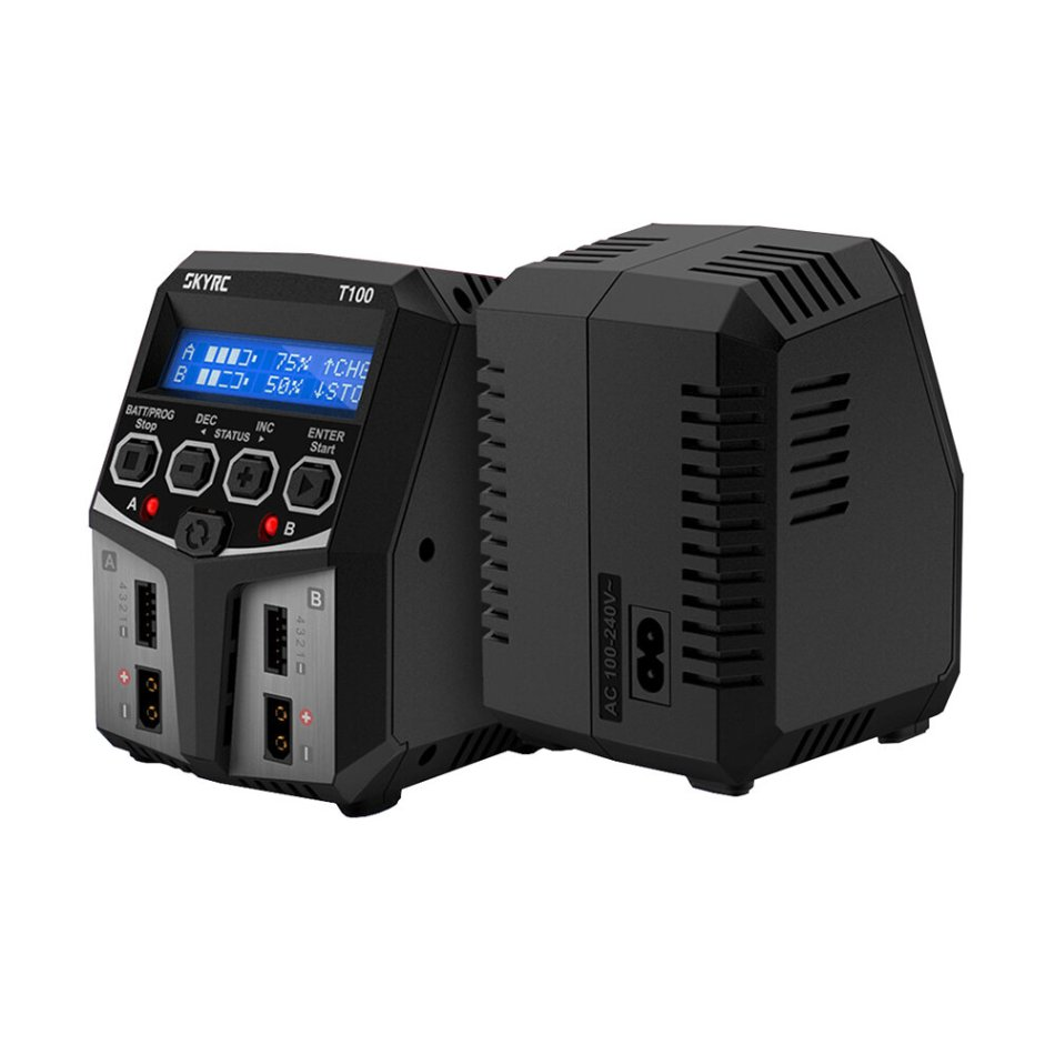 SKYRC T100 DUAL 5A 2X50W Balance Charger for 2-4S LiPo/LiIon/LiFe/LiHV Battery