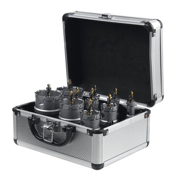 10Pcs 16-53mm Carbide Tip TCT Drill Bit Hole Saw Cutter Kit Stainless Steel Hexagon Wrench With Storage Box