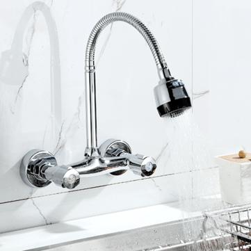 wall mount brass mixer tap faucet kitchen sink basin flexible spout dual handle faucet