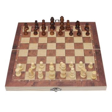 Ευρωπαϊκή αποθήκη | 3 In 1 Foldable Chess Set Chess Board Backgammon International Checkers – 24cm