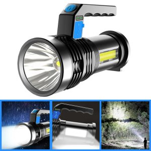 Με 5€ παίρνεις 2 πυτόγυρα η έναν φακό | XANES® P500 Double Light 500m Long Range Strong Flashlight with COB Sidelight USB Rechargeable Powerful Handheld Spotlight LED Searchlight