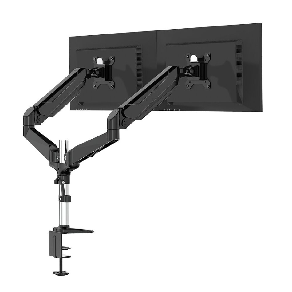 """BlitzWolf® BW-MS4 Dual Monitor Stand with Dual Pneumatic Arms 32"""" Monitor Stand 360° Rotation, -85°~+90°Tilt, 180°Swivel, Adjustable Height and Cable Management"""