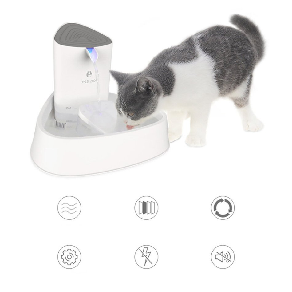 ELSPET 1.8L Automatic Pet Water Fountain Protection Against Dry Heating Cat Drink Dispenser Water Circulation Mute Four Layers Filtration For Dog Cat Healthy