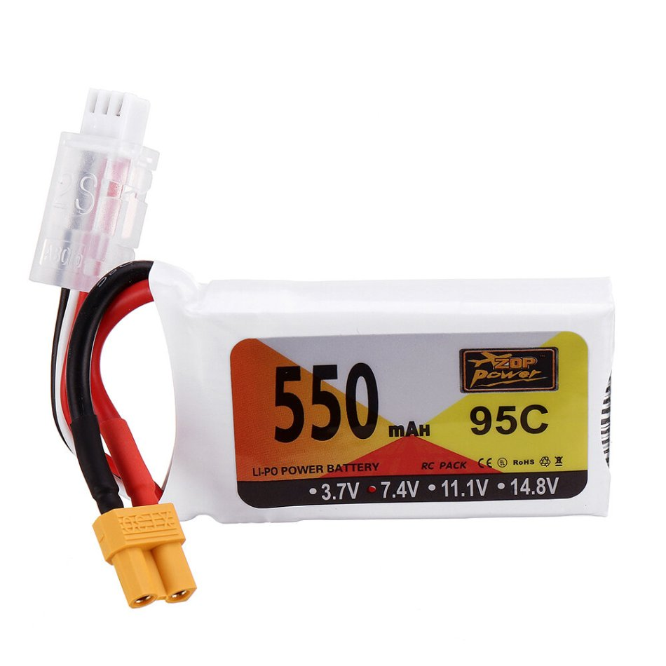 ZOP Power 7.4V 550mAh 95C 2S Lipo Battery XT30 Plug for RC Quadcopter