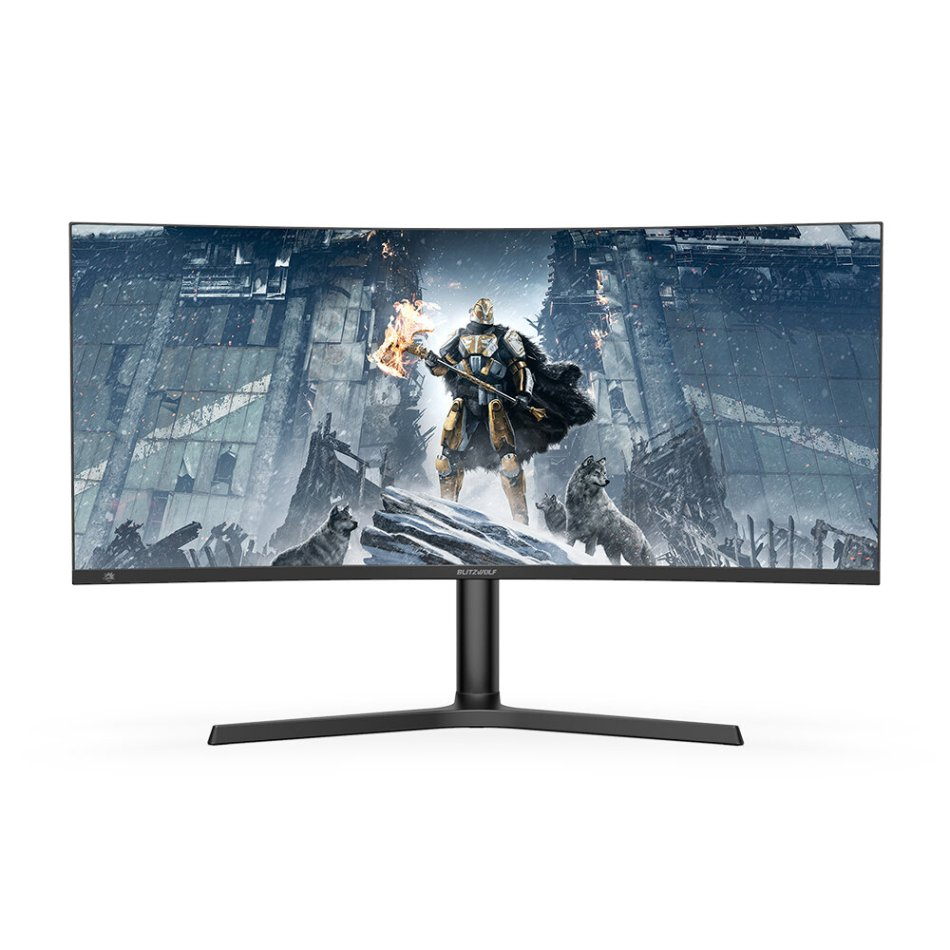 BlitzWolf® BW-GM3 34 inch Curved Gaming Monitor 165Hz 4K Resolution WQHD 3440 x 1440 300 cd/㎡ 1500R Curvature 120% sRGB Color Home Office Gaming Monitor