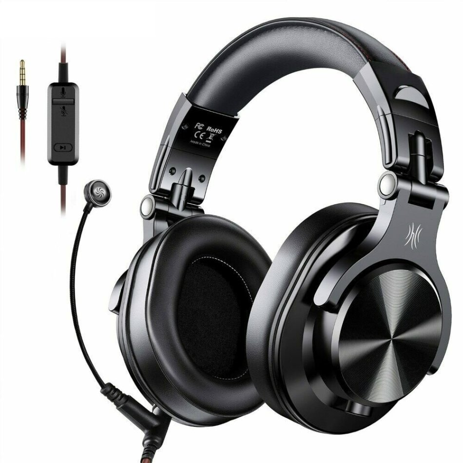 OneOdio A71 Gaming Headset Over-Ear Stereo Headphone 3.5mm Wired with Pluggable Microphone Multifunctional Headset for Xbox/Phone Black