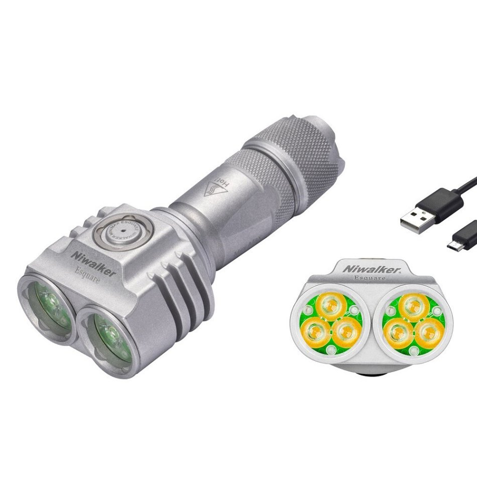 Niwalker ET2 6x XP-L HD 4000lm NW EDC Flashlight 18650/21700 Battery USB Rechargeable Mini Torch Light Outdoor Camping Hunting