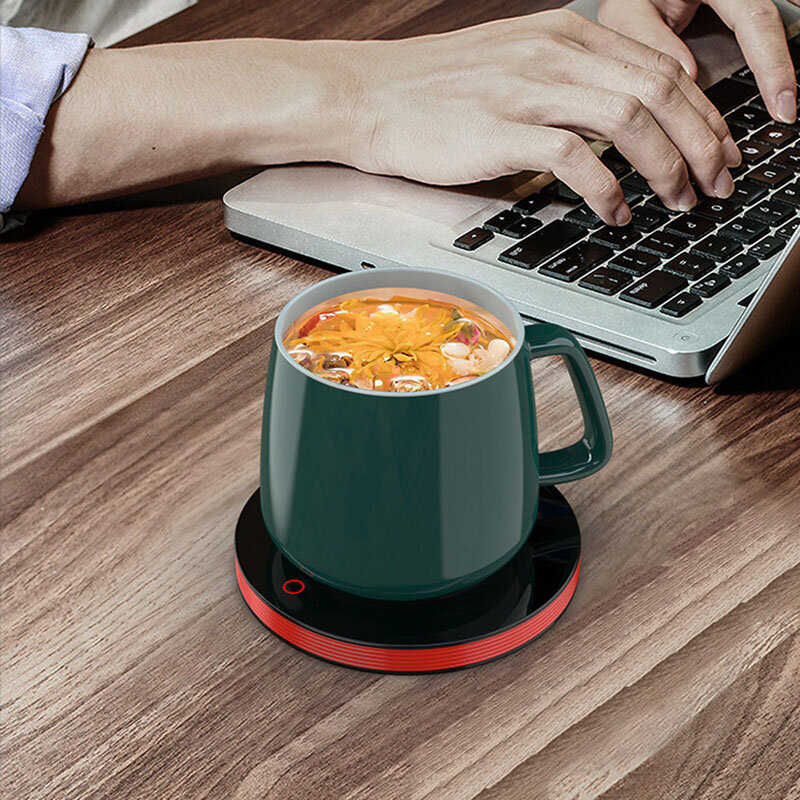 Loskii A201 55℃ Constant Temperature Cup Heating Mat 18W Two Gear Touch Control Electric Tea Warmer 8H Automatic Power Off Protection for Home Office Travel