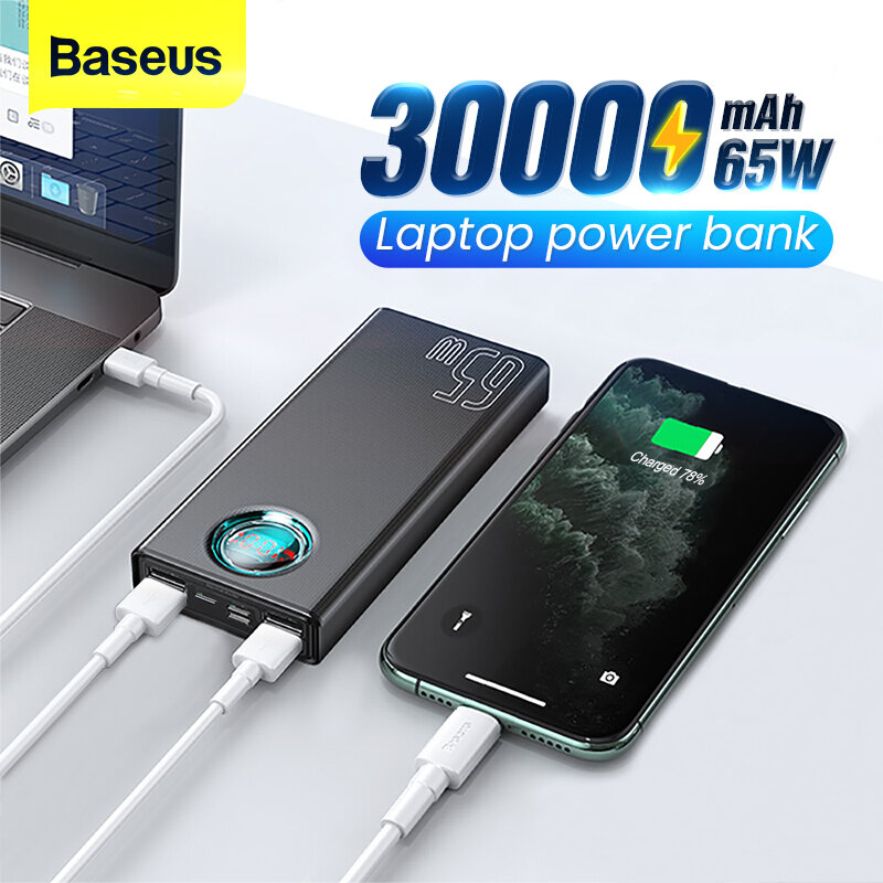 Baseus 65W USB PD 30000mAh Power Bank PD QC3.0 FCP SCP Fast Charging External Battery Charger 3 Inputs & 5 Outputs With 100W USB-C to USB-C Cable For iPhone 12 12 Mini 12 Pro For Samsung Galaxy Note 20 Ultra Xiaomi Mi10 For iPad Pro 2020 MacBook Air 2020
