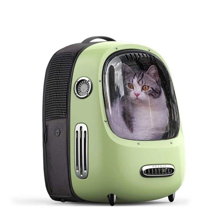 PETKIT Pet Cat Backpack Carrier Bag Vintage Style Travel Window Waterproof Breathable for Pet Travel Bag Dog Cat Space Capsule