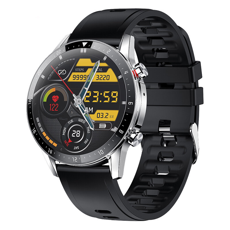 [128MB Store Music] NORTH EDGE N08S 1.3 inch Full-Touch Screen BT5.0 bluetooth Calling Multifunctional Heart Rate Blood Pressure Monitor 300mAh IP67 Waterproof Men Smart Watch