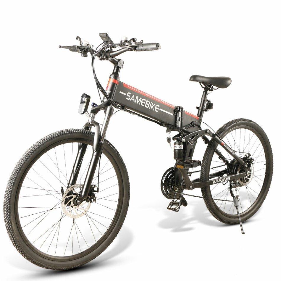 [EU Direct] SAMEBIKE LO26 Spoke Tire 10.4Ah 48V 500W Moped Electric Bike 26 Inches Smart Folding Bike 35km/h Max Speed 80km Mileage Max Load 150kg With EU Plug Dual Dics Brake