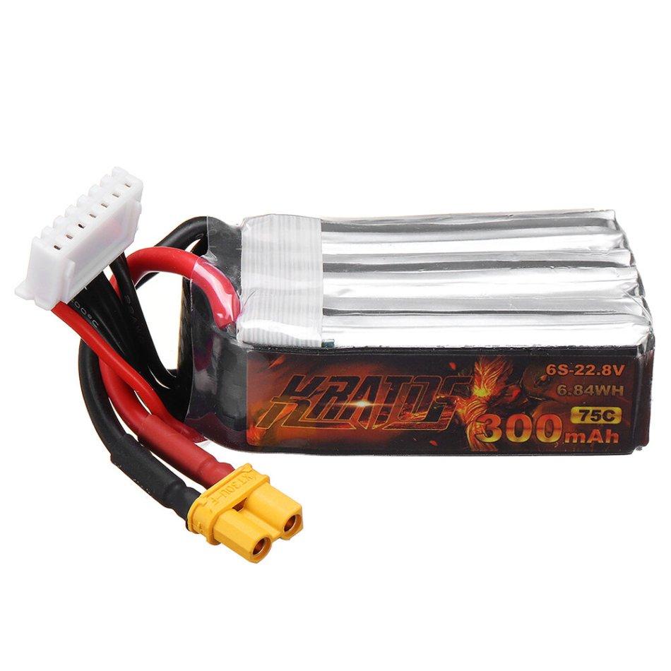 HGLRC KRATOS 22.2V 300mAh 75C 6S Lipo Battery XT30 Plug for RC Racing Drone