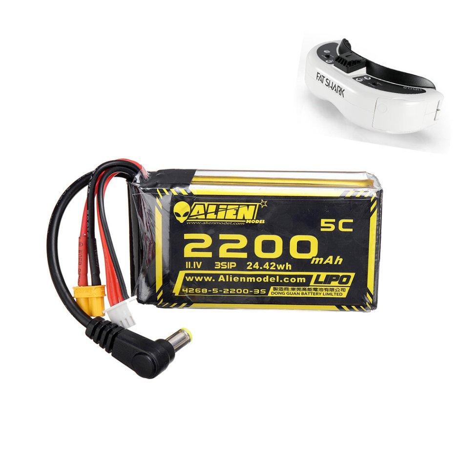 Alien Model 11.1V 2200mAh 3S 5C XT60 Plug DC Connector Lipo Battery for Fatshark HDO2 DJI Goggles