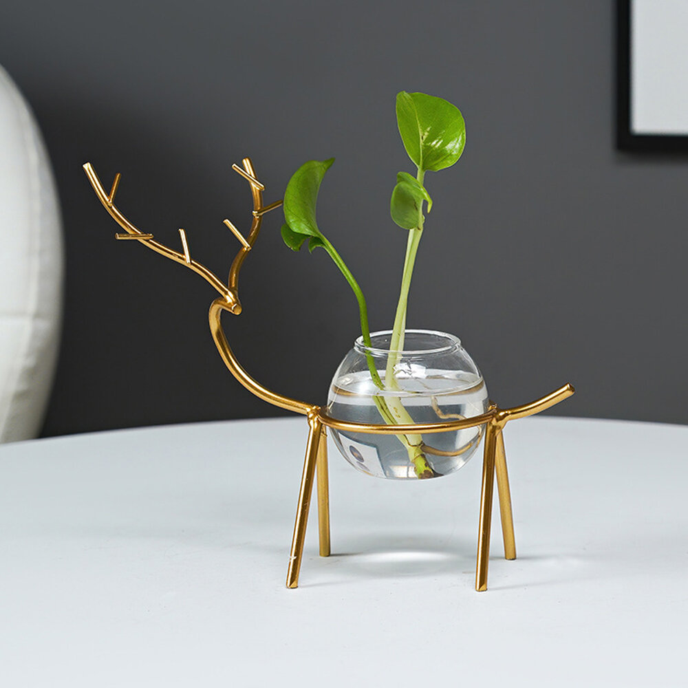 Desktop Hydroponic Flowerpot Decoration Fresh Desktop Small Fish Tank Office Desk Living Room Creative Plant Vase Decoration for Home Office