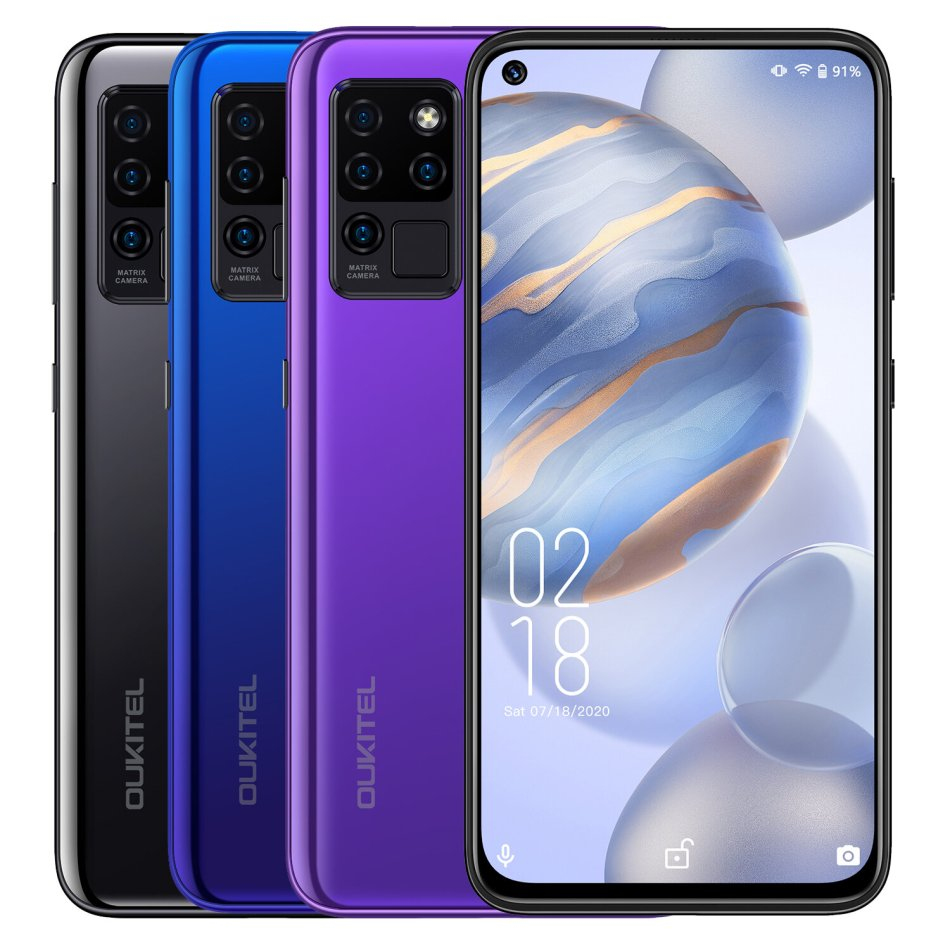 OUKITEL C21 Global Version 6.4 inch FHD+ Hole Punch Display 4000mAh Android 10 20MP Front Camera 4GB 64GB Helio P60 4G Smartphone