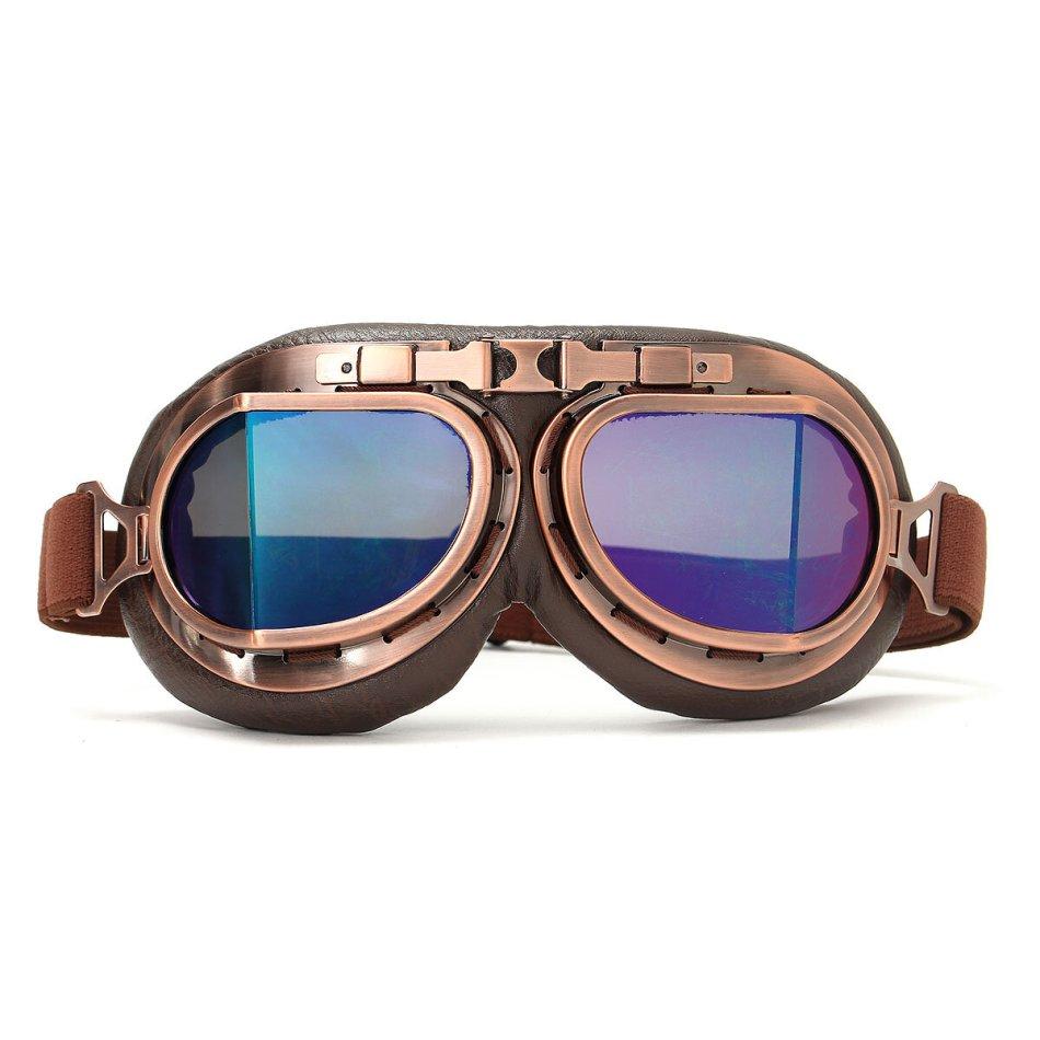 Vintage Pilot Helmet Steampunk Copper Motorcycle Scooter Helmet Glasses Goggles