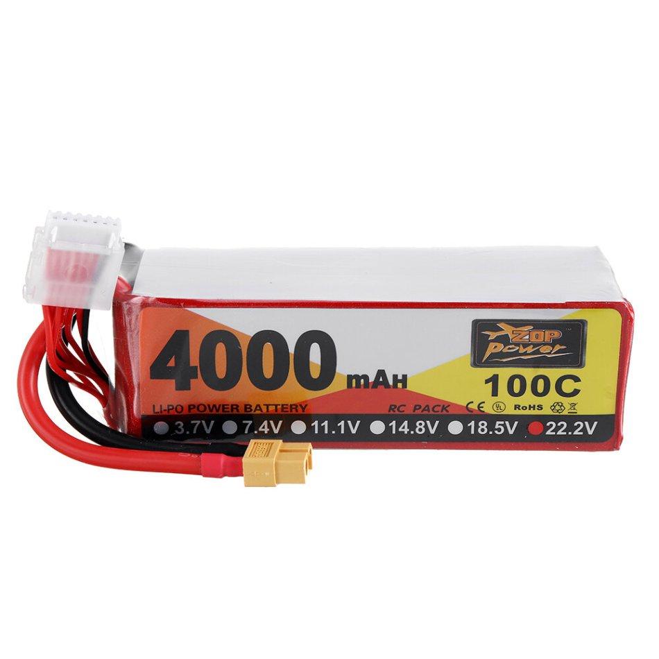 ZOP Power 22.2V 4000mAh 100C 6S Lipo Battery XT60 Plug for FPV RC Drone