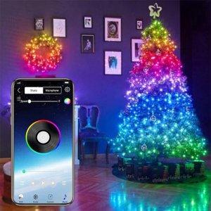 Στα €4.69 από αποθήκη Κίνας | 4-FQ Fairy Lights Led String Lights Plug in for Indoor Outdoor Twinkle Lights USB 32.8FT Hanging Curtain String Lights Color Changing Music Sync Bluetooth APP Phone Starry Lights Bedroom – 2m 20LEDS