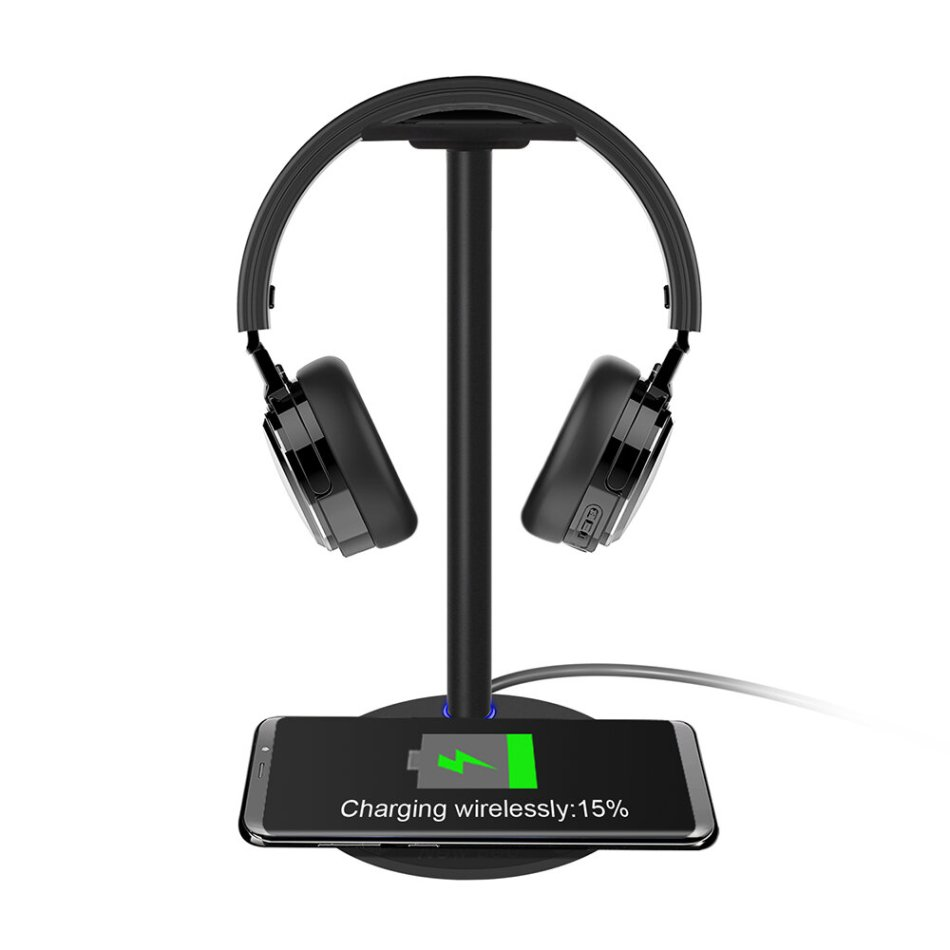 New Bee NB-Z2 2-in-1 Function Headphone Stand/Holder Storage Tools with Wireless Fast Charging Pad for Smartphone