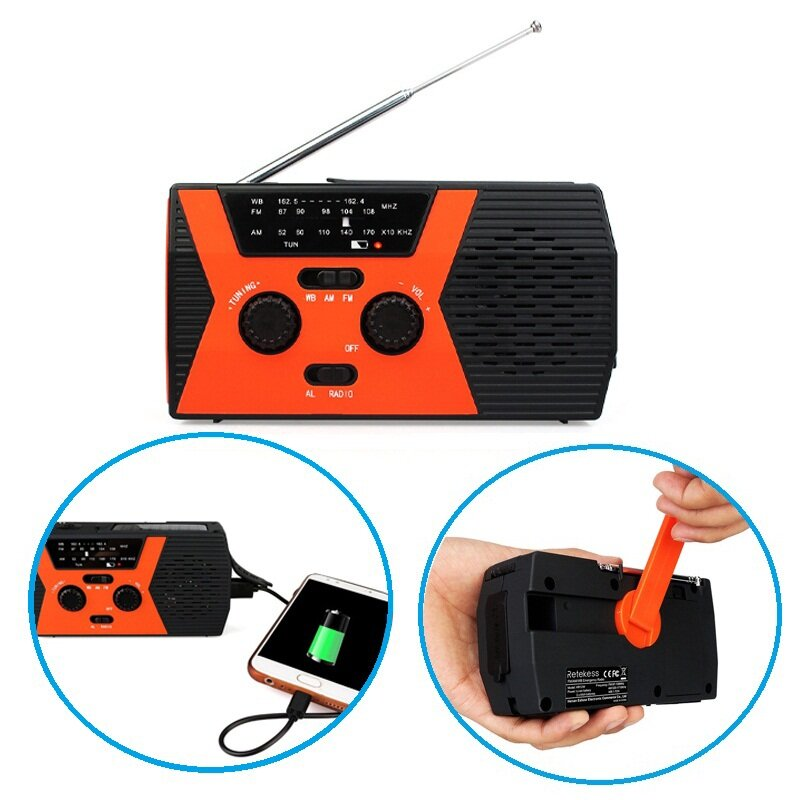 Retekess HR12W Manual Hand Crank Generator DIY USB Electric Dynamo Power FM/AM/NOAA Radio With Flashlight For Camping Travel