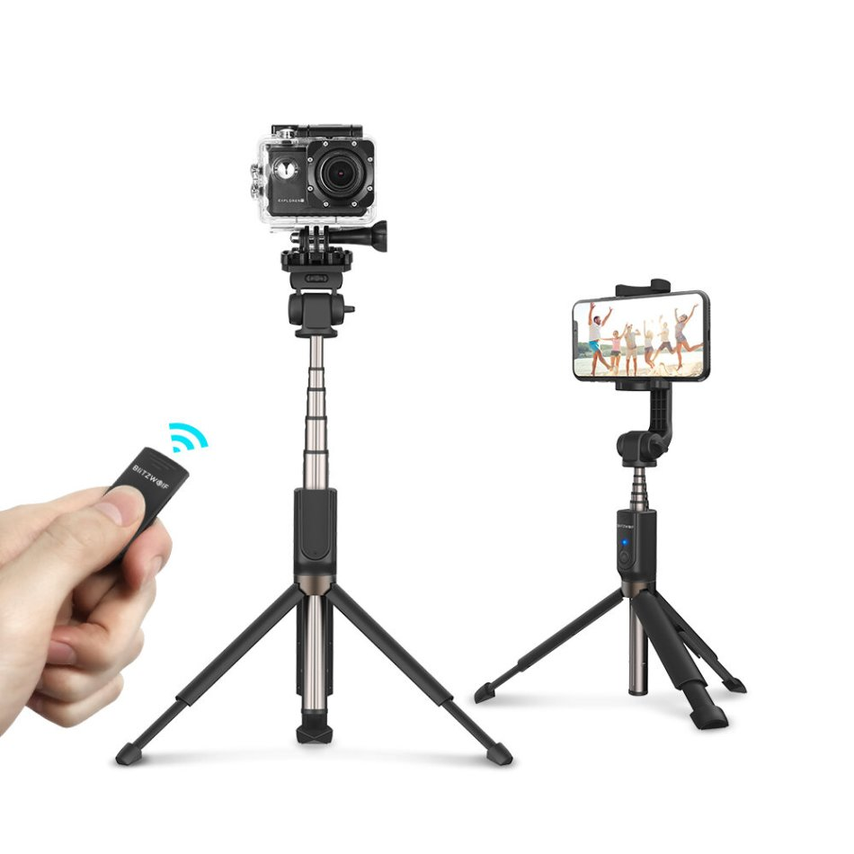 BlitzWolf BW-BS5 Extended Multi-angle bluetooth Tripod Selfie Stick for Smartphones Sports Camera