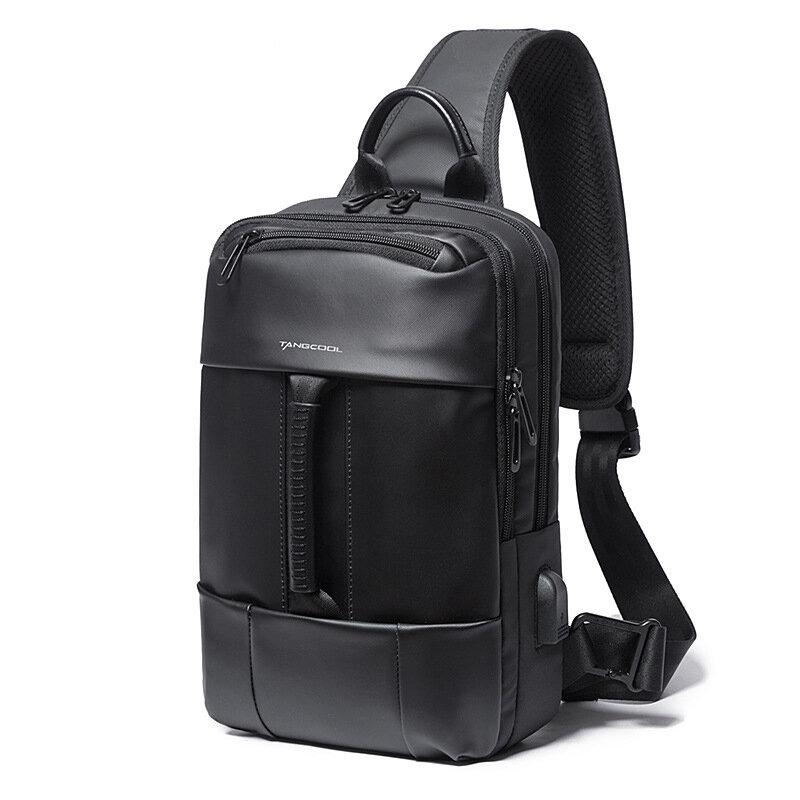 Tangcool TC77106 USB Crossbody Bag Oxford Cloth 9.7inch Laptop Bag Travel Shoulder Bag