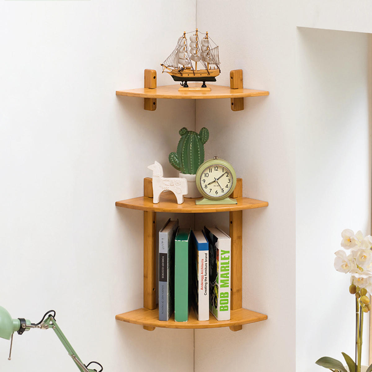 Mumaren 1 2 Tiers Bamboo Fan Shaped Corner Bookshelf Storage Rack Wall Mounted Wooden Corner Desk Shelf