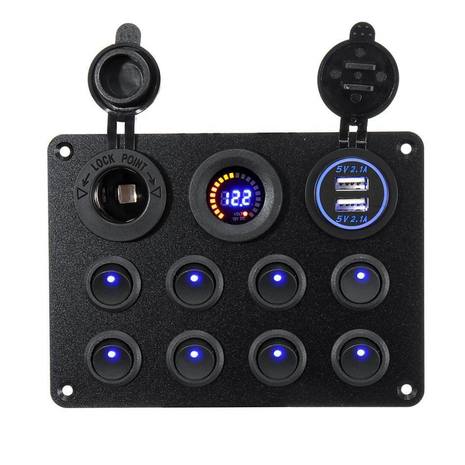 8 Gang Switch Panel 12V-24V Toggles ON OFF USB Voltage Interior Controls Car Boat Marine LED Rocker Breaker