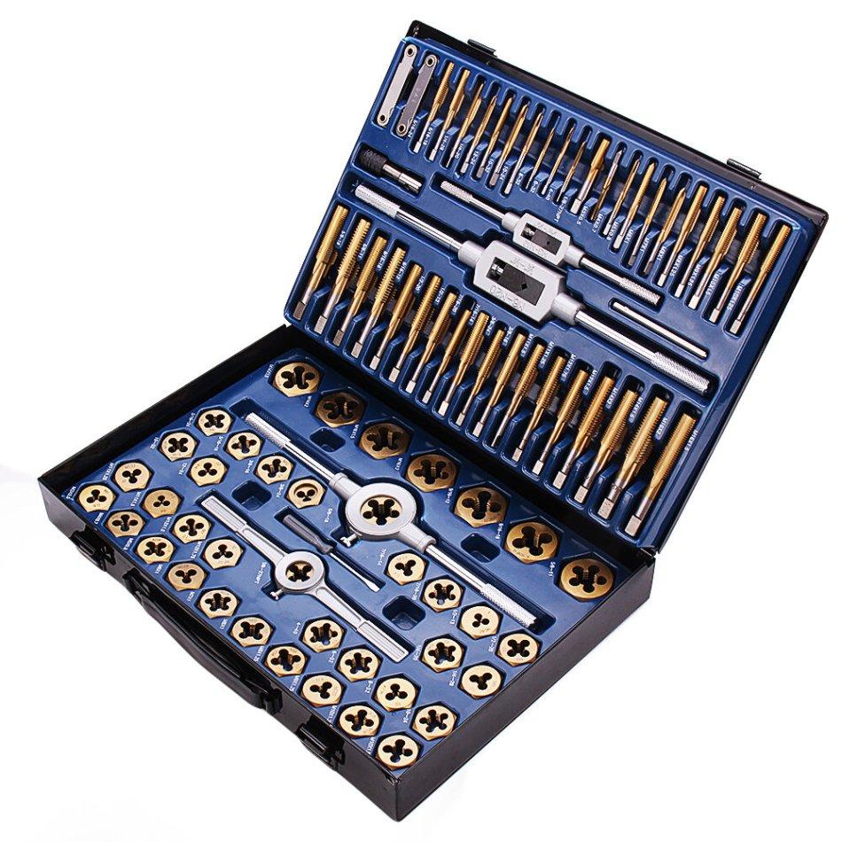 Drillpro 86Pcs Tungstem Steel Plating Titanium SAE Tap And Die Set Combination Metric Tools Kit
