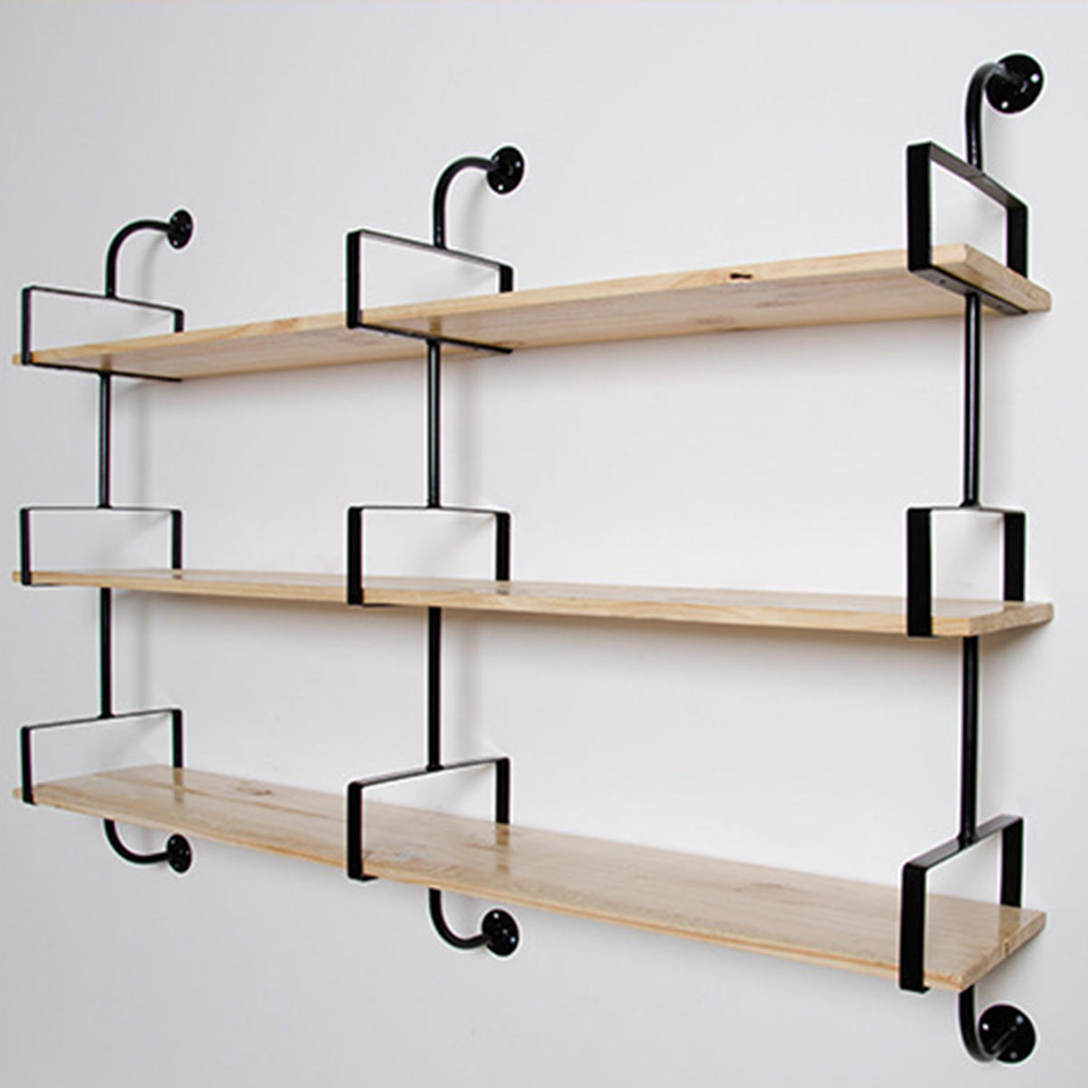 2pcs Industrial Retro Bookshelf Diy Wall Mounted Storage Shelves Bracket 3 Layers Iron Pipe Shelf For Home Decor Kitchen Kids Rooms