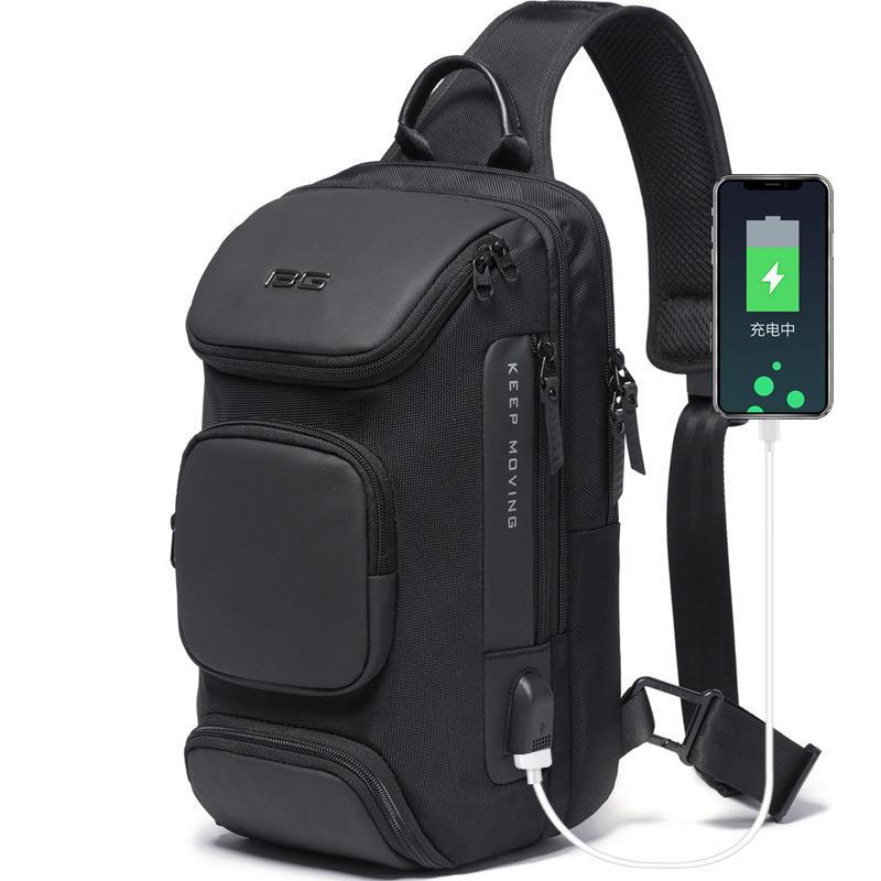 BANGE BG-7086 8L Men Sling Bag with USB Charging Port Oxford Cloth Chest Shoulder Crossbody Bag Oxford Cloth Multipurpose Travel Rucksack