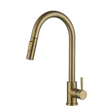 360 brass gold kitchen sink faucet pull out water tap sensor mixer tap with 2 pipes