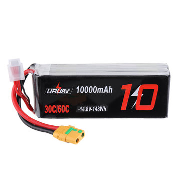 URUAV 14.8V 10000mAh 30/60C 4S Lipo Battery XT90 Plug for FPV RC Quadcopter Agriculture Drone