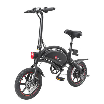 [EU Direct] DYU D3+ 10Ah 240W 36V Folding Moped Electric Bike14inch 25km/h Top Speed 70km Mileage Range Intelligent Double Brake System Max Load 120kg