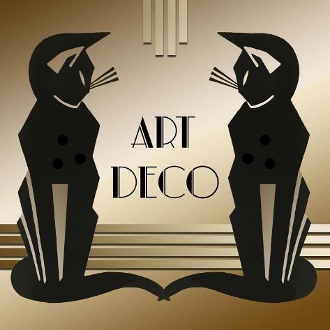 Art Deco Cats 1 Giclee Print Art Deco Designs Allposters Com