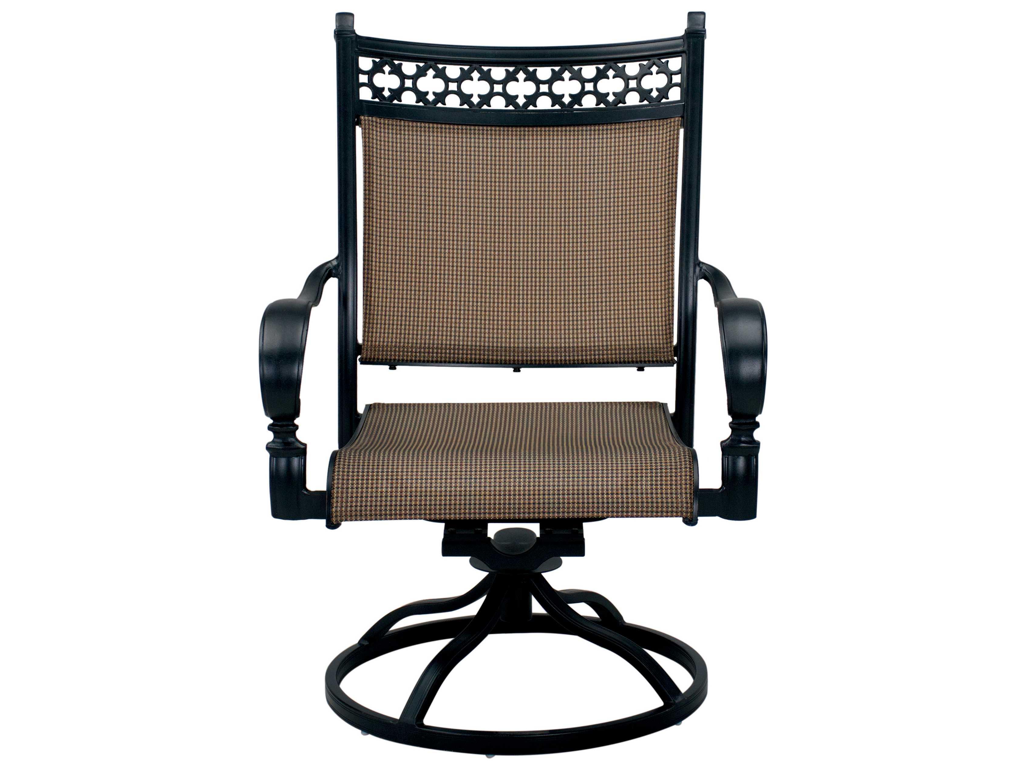 darlee outdoor living mountain view cast aluminum sling swivel rocker chair in antique bronze