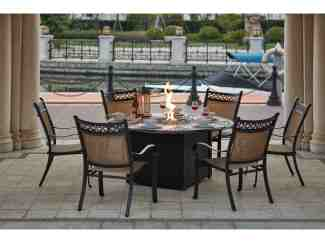 Darlee Outdoor Living Standard Mountain View Cast Aluminum 7 Piece Dining Propane Fire Pit Dining Set With 60 Inch Round In Antique Bronze Da2016107pc60gd