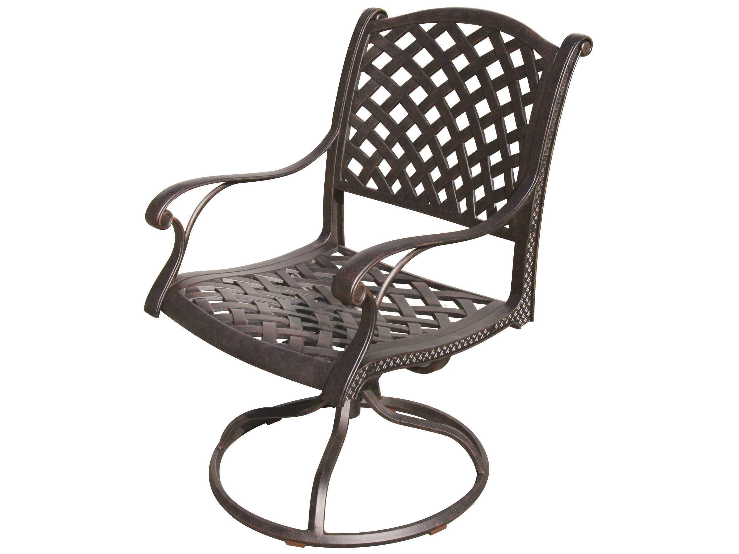 darlee outdoor living nassau cast aluminum antique bronze swivel rocker chair