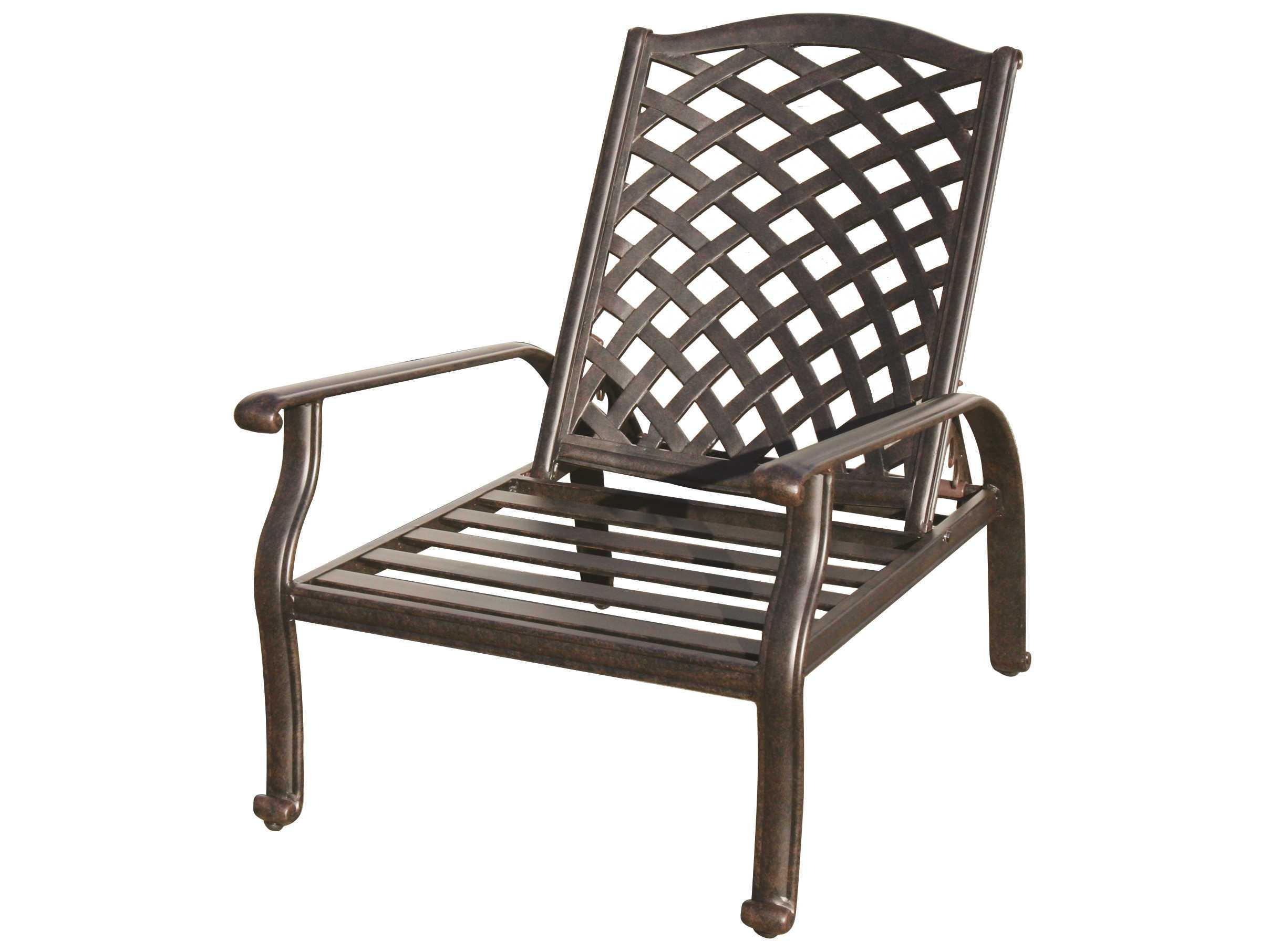 darlee outdoor living nassau cast aluminum antique bronze adjustable club chair